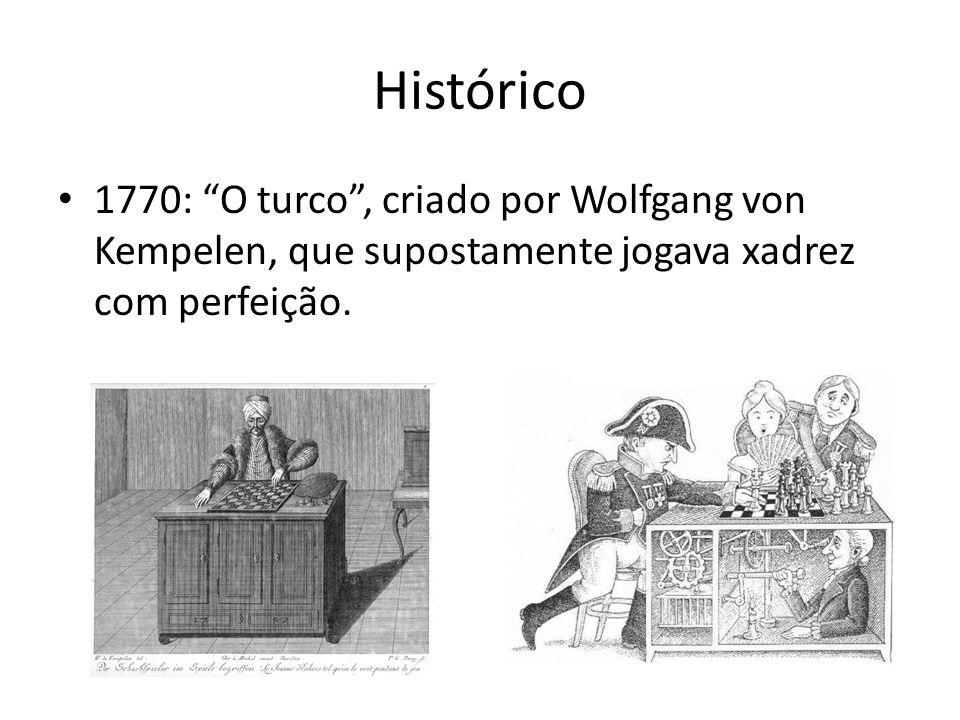 Histórico 1770: O turco, criado por Wolfgang von Kempelen, que supostamente jogava xadrez com perfeição.
