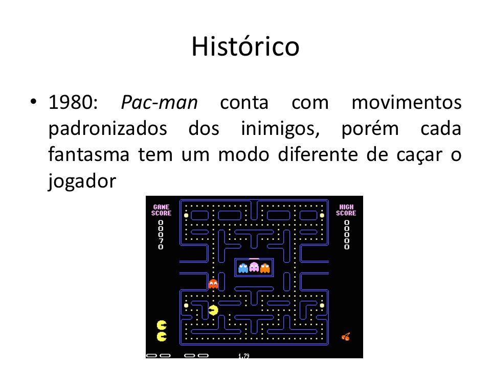 Histórico 1980: Pac-man conta com movimentos padronizados dos inimigos, porém cada fantasma tem um modo diferente de caçar o jogador