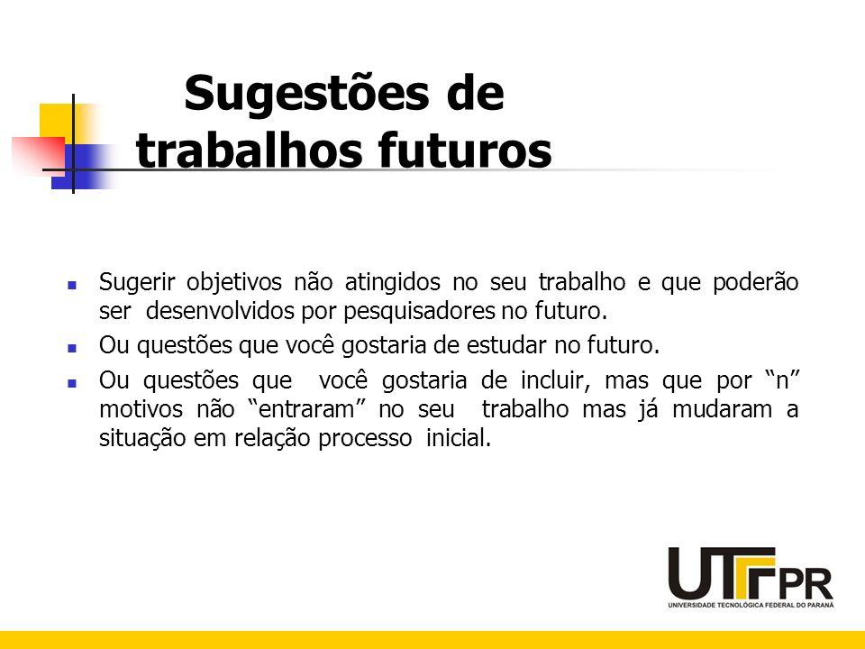 Sugestões de trabalhos futuros Sugerir objetivos não atingidos no seu trabalho e que poderão ser desenvolvidos por pesquisadores no futuro. Ou questõe