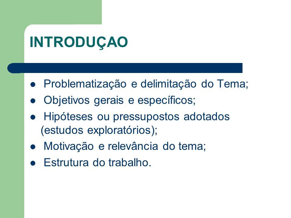 INTRODUÇAO Problematização e delimitação do Tema; Objetivos gerais e específicos; Hipóteses ou pressupostos adotados (estudos exploratórios); Motivaçã