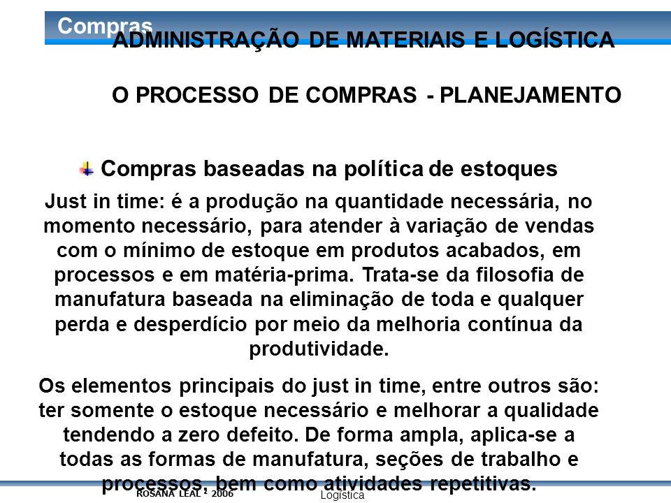 Logística Compras O PROCESSO DE COMPRAS - PLANEJAMENTO Compras baseadas na política de estoques Just in time: é a produção na quantidade necessária, n