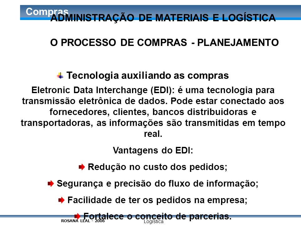 Logística Compras O PROCESSO DE COMPRAS - PLANEJAMENTO Tecnologia auxiliando as compras Eletronic Data Interchange (EDI): é uma tecnologia para transm