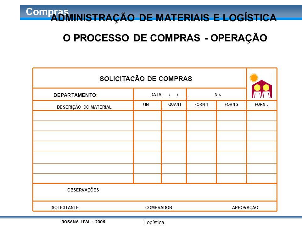 Logística Compras O PROCESSO DE COMPRAS - OPERAÇÃO SOLICITAÇÃO DE COMPRAS DEPARTAMENTO: DATA:___/___/____No. DESCRIÇÃO DO MATERIAL UN QUANTFORN 1FORN