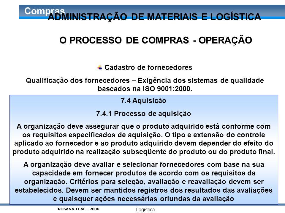 Logística Compras O PROCESSO DE COMPRAS - OPERAÇÃO Cadastro de fornecedores Qualificação dos fornecedores – Exigência dos sistemas de qualidade basead