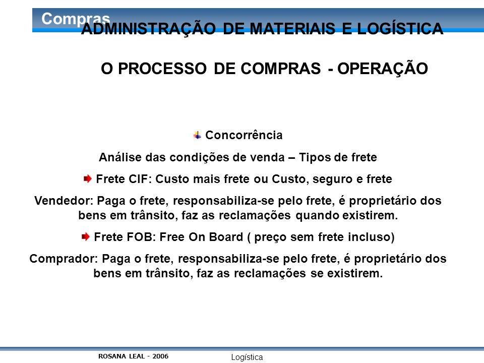 Logística Compras O PROCESSO DE COMPRAS - OPERAÇÃO Concorrência Análise das condições de venda – Tipos de frete Frete CIF: Custo mais frete ou Custo,