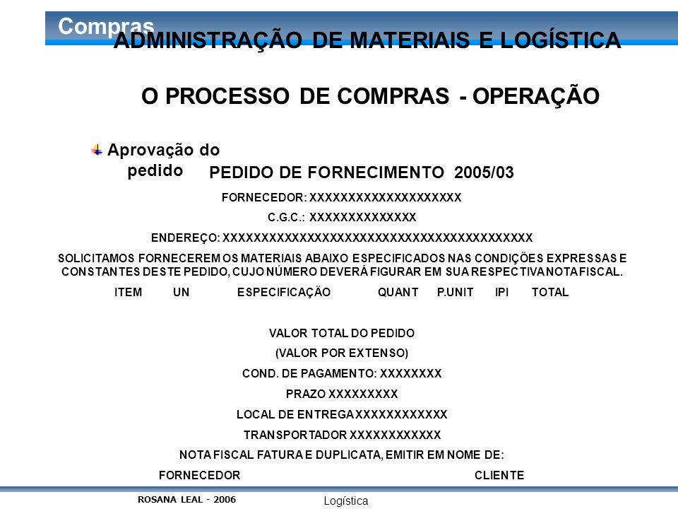 Logística Compras O PROCESSO DE COMPRAS - OPERAÇÃO Aprovação do pedido PEDIDO DE FORNECIMENTO 2005/03 FORNECEDOR: XXXXXXXXXXXXXXXXXXXX C.G.C.: XXXXXXX