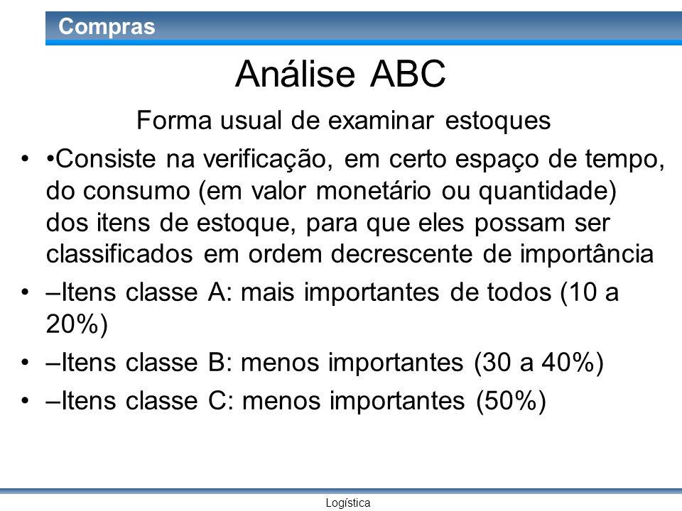 Logística Compras Análise ABC Forma usual de examinar estoques Consiste na verificação, em certo espaço de tempo, do consumo (em valor monetário ou qu