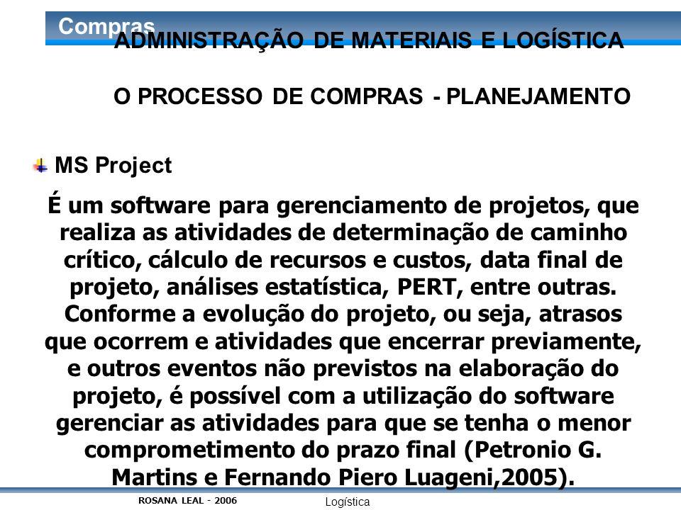 Logística Compras O PROCESSO DE COMPRAS - PLANEJAMENTO MS Project É um software para gerenciamento de projetos, que realiza as atividades de determina