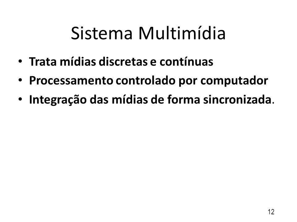 Sistema Multimídia Trata mídias discretas e contínuas Processamento controlado por computador Integração das mídias de forma sincronizada. 12