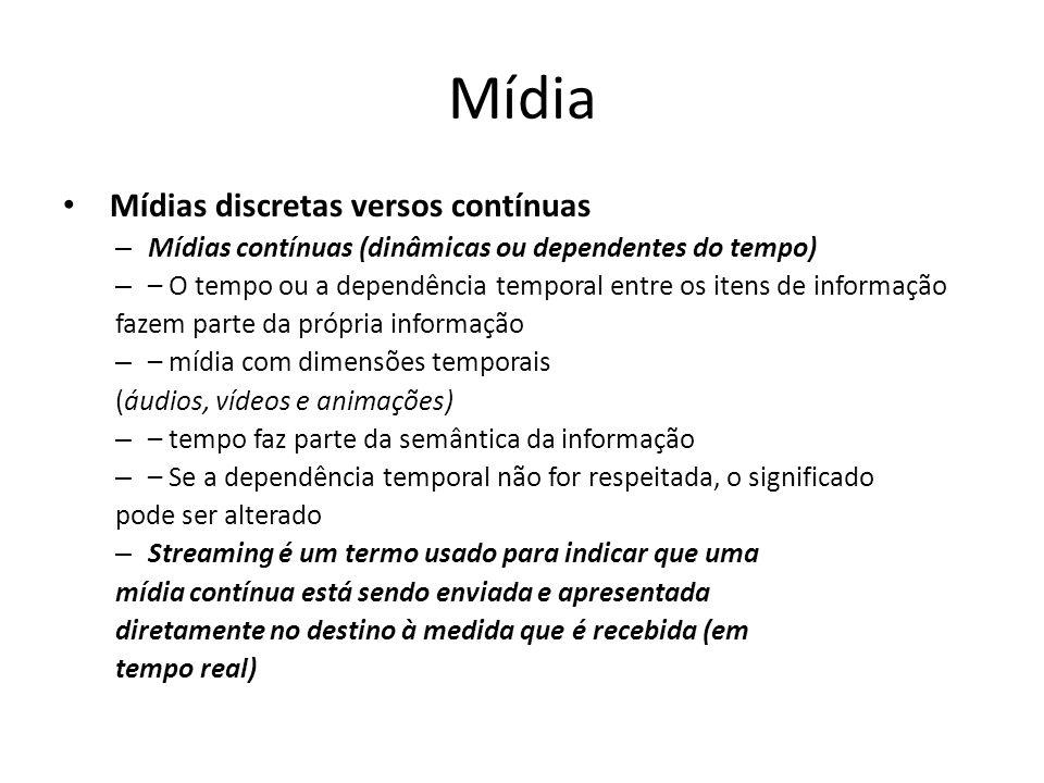 Mídia Mídias discretas versos contínuas – Mídias contínuas (dinâmicas ou dependentes do tempo) – – O tempo ou a dependência temporal entre os itens de