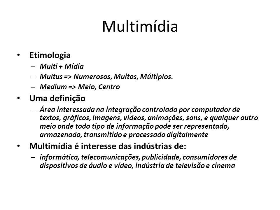 Multimídia Etimologia – Multi + Mídia – Multus => Numerosos, Muitos, Múltiplos. – Medium => Meio, Centro Uma definição – Área interessada na integraçã