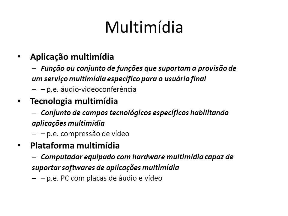 Multimídia Aplicação multimídia – Função ou conjunto de funções que suportam a provisão de um serviço multimídia específico para o usuário final – – p