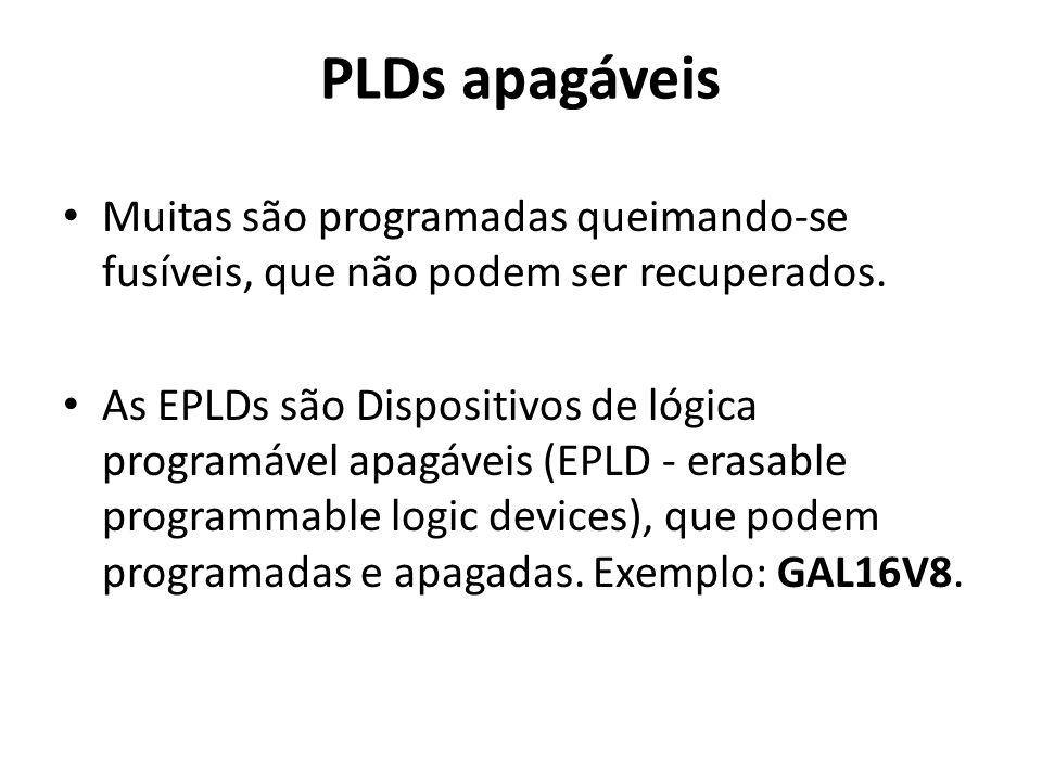 PLDs apagáveis Muitas são programadas queimando-se fusíveis, que não podem ser recuperados. As EPLDs são Dispositivos de lógica programável apagáveis