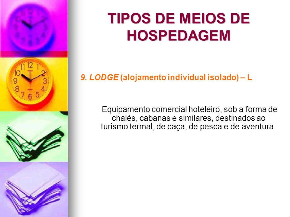 TIPOS DE MEIOS DE HOSPEDAGEM 9. LODGE (alojamento individual isolado) – L Equipamento comercial hoteleiro, sob a forma de chalés, cabanas e similares,