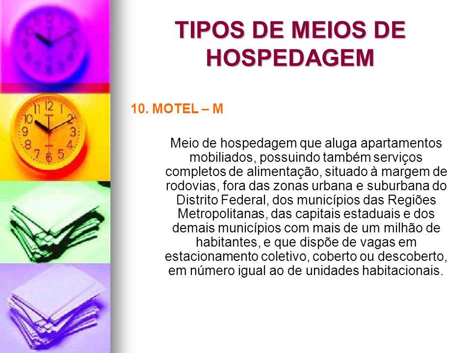 TIPOS DE MEIOS DE HOSPEDAGEM 10. MOTEL – M Meio de hospedagem que aluga apartamentos mobiliados, possuindo também serviços completos de alimentação, s