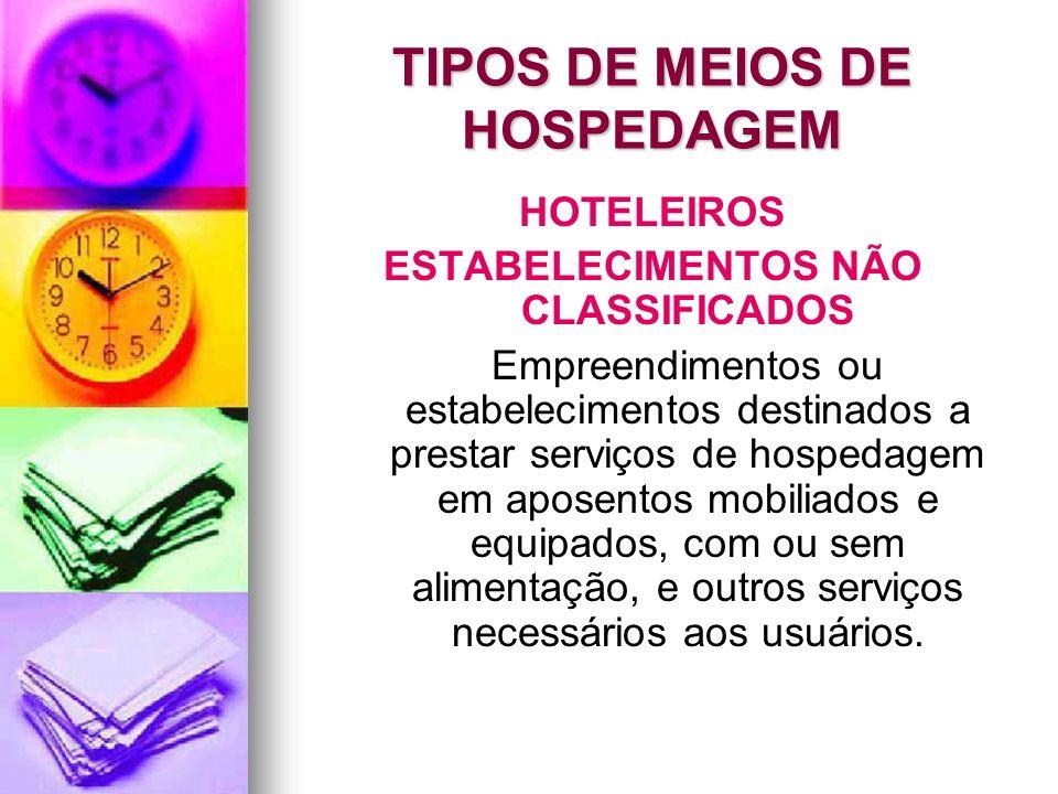 TIPOS DE MEIOS DE HOSPEDAGEM HOTELEIROS ESTABELECIMENTOS NÃO CLASSIFICADOS Empreendimentos ou estabelecimentos destinados a prestar serviços de hosped