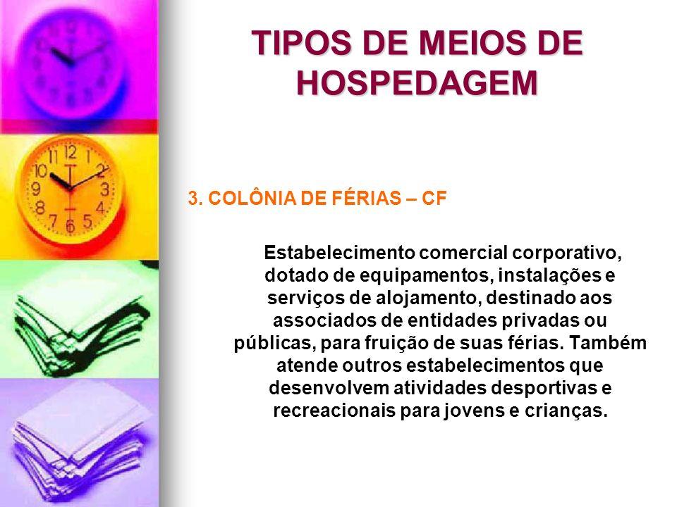 TIPOS DE MEIOS DE HOSPEDAGEM 3. COLÔNIA DE FÉRIAS – CF Estabelecimento comercial corporativo, dotado de equipamentos, instalações e serviços de alojam