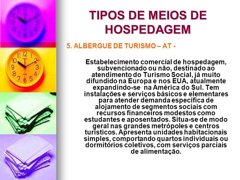 TIPOS DE MEIOS DE HOSPEDAGEM 5. ALBERGUE DE TURISMO – AT - Estabelecimento comercial de hospedagem, subvencionado ou não, destinado ao atendimento do