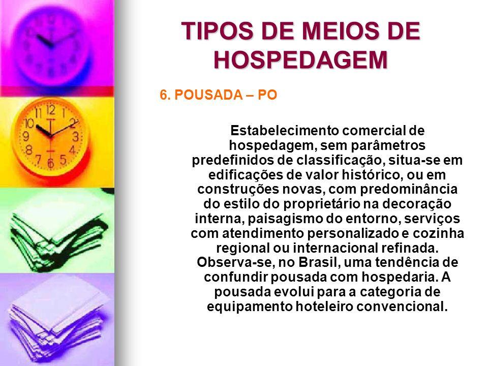 TIPOS DE MEIOS DE HOSPEDAGEM 6. POUSADA – PO Estabelecimento comercial de hospedagem, sem parâmetros predefinidos de classificação, situa-se em edific