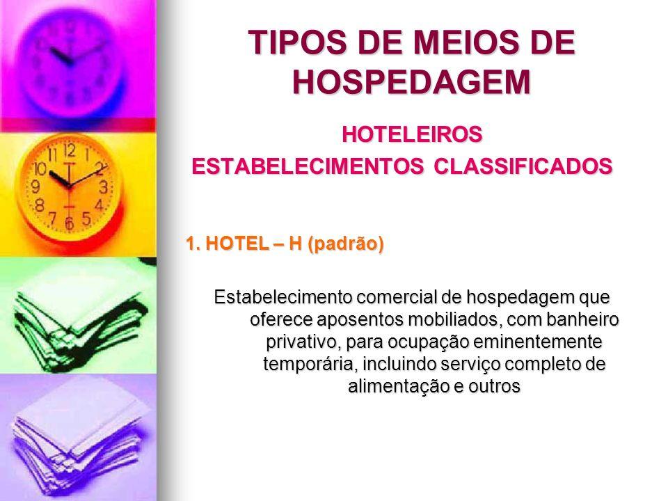 HOTELEIROS ESTABELECIMENTOS CLASSIFICADOS ESTABELECIMENTOS CLASSIFICADOS 1. HOTEL – H (padrão) Estabelecimento comercial de hospedagem que oferece apo