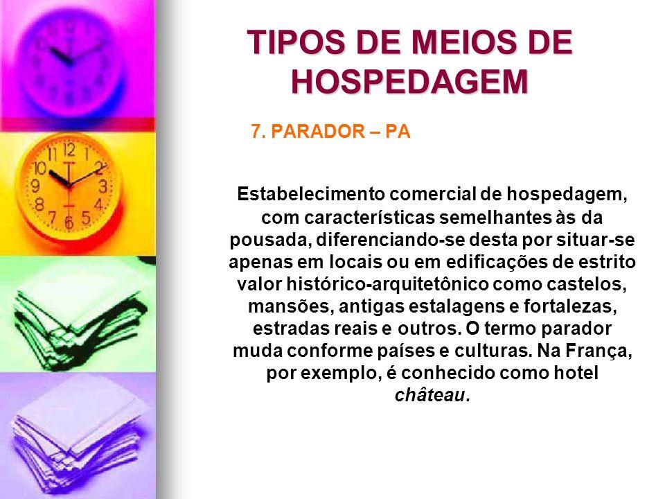 TIPOS DE MEIOS DE HOSPEDAGEM 7. PARADOR – PA Estabelecimento comercial de hospedagem, com características semelhantes às da pousada, diferenciando-se
