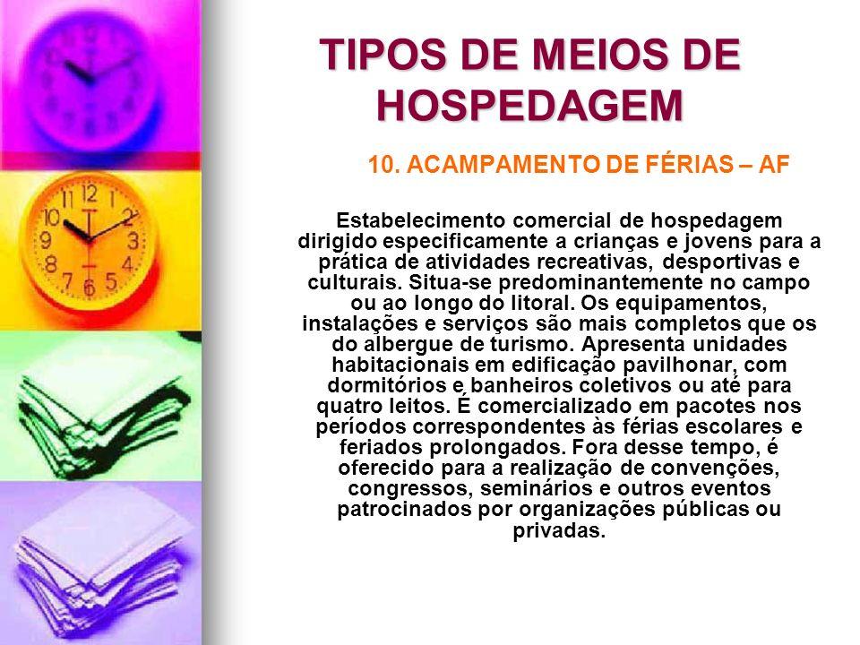 TIPOS DE MEIOS DE HOSPEDAGEM 10. ACAMPAMENTO DE FÉRIAS – AF Estabelecimento comercial de hospedagem dirigido especificamente a crianças e jovens para