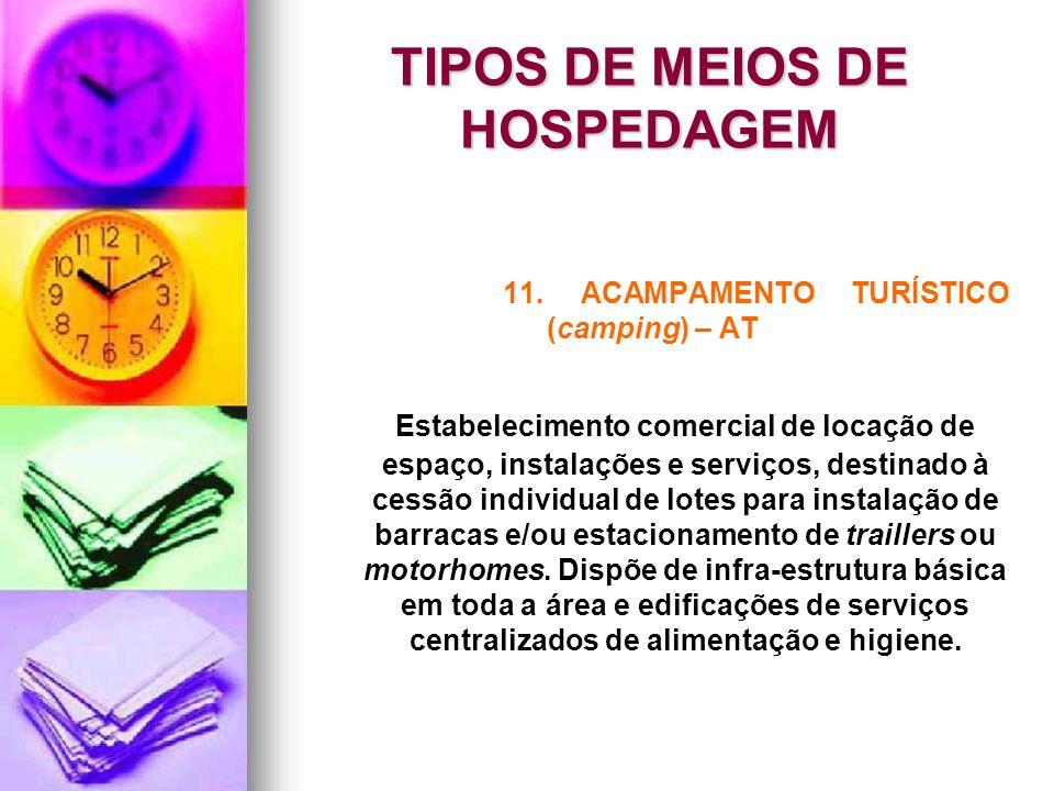 TIPOS DE MEIOS DE HOSPEDAGEM 11. ACAMPAMENTO TURÍSTICO (camping) – AT Estabelecimento comercial de locação de espaço, instalações e serviços, destinad