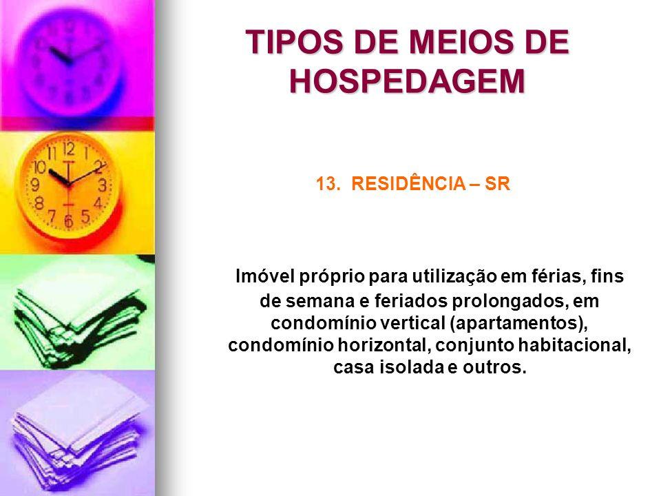 TIPOS DE MEIOS DE HOSPEDAGEM 13. RESIDÊNCIA – SR Imóvel próprio para utilização em férias, fins de semana e feriados prolongados, em condomínio vertic