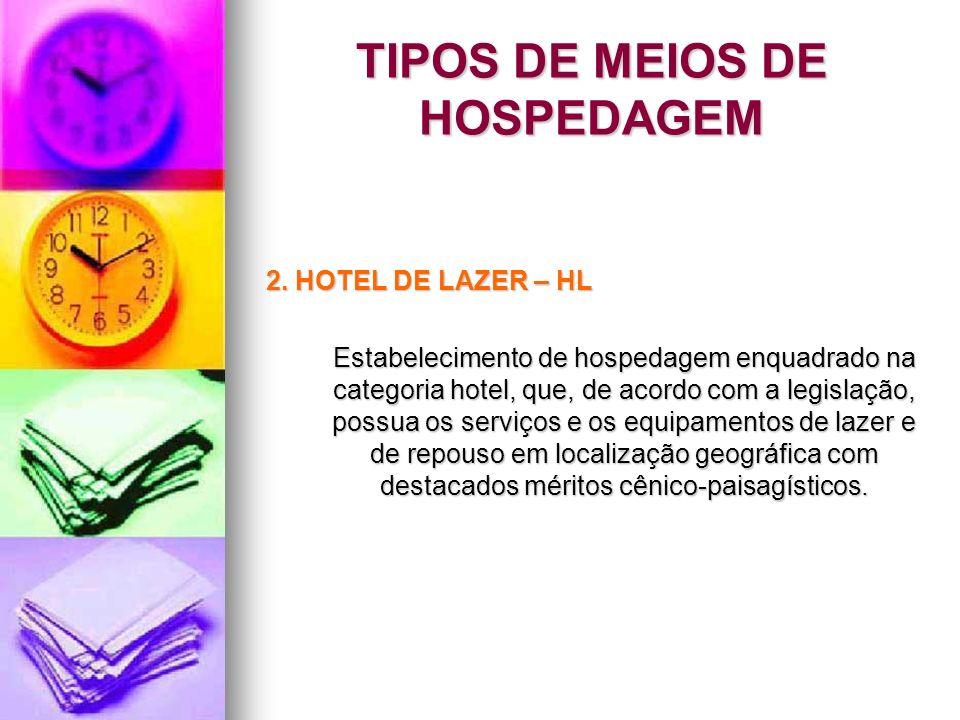 TIPOS DE MEIOS DE HOSPEDAGEM 2. HOTEL DE LAZER – HL Estabelecimento de hospedagem enquadrado na categoria hotel, que, de acordo com a legislação, poss