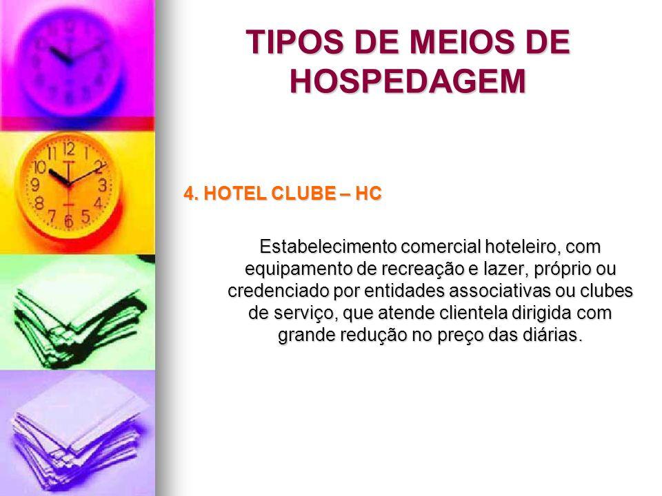 TIPOS DE MEIOS DE HOSPEDAGEM 4. HOTEL CLUBE – HC Estabelecimento comercial hoteleiro, com equipamento de recreação e lazer, próprio ou credenciado por