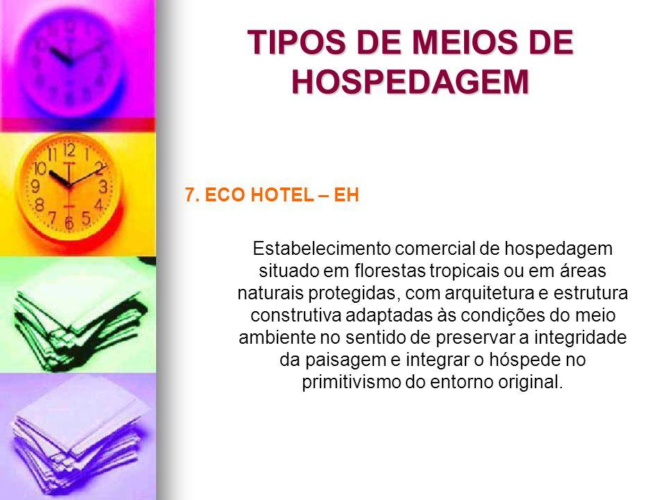 TIPOS DE MEIOS DE HOSPEDAGEM 7. ECO HOTEL – EH Estabelecimento comercial de hospedagem situado em florestas tropicais ou em áreas naturais protegidas,