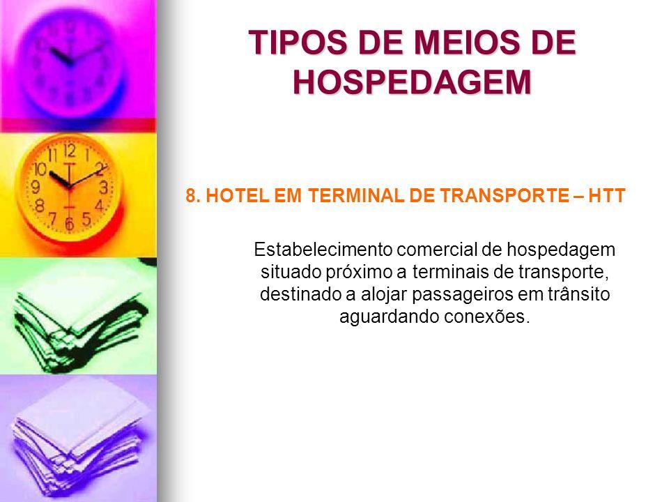 TIPOS DE MEIOS DE HOSPEDAGEM 8. HOTEL EM TERMINAL DE TRANSPORTE – HTT Estabelecimento comercial de hospedagem situado próximo a terminais de transport