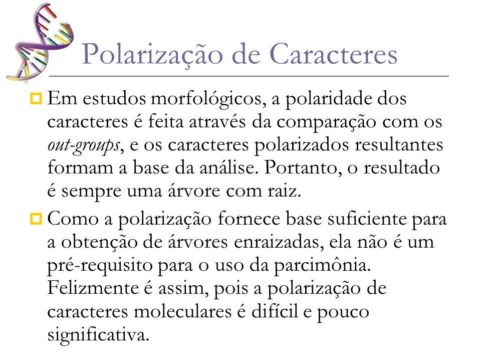 Em estudos morfológicos, a polaridade dos caracteres é feita através da comparação com os out-groups, e os caracteres polarizados resultantes formam a