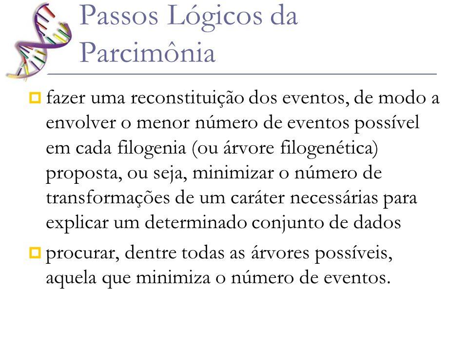Passos Lógicos da Parcimônia fazer uma reconstituição dos eventos, de modo a envolver o menor número de eventos possível em cada filogenia (ou árvore