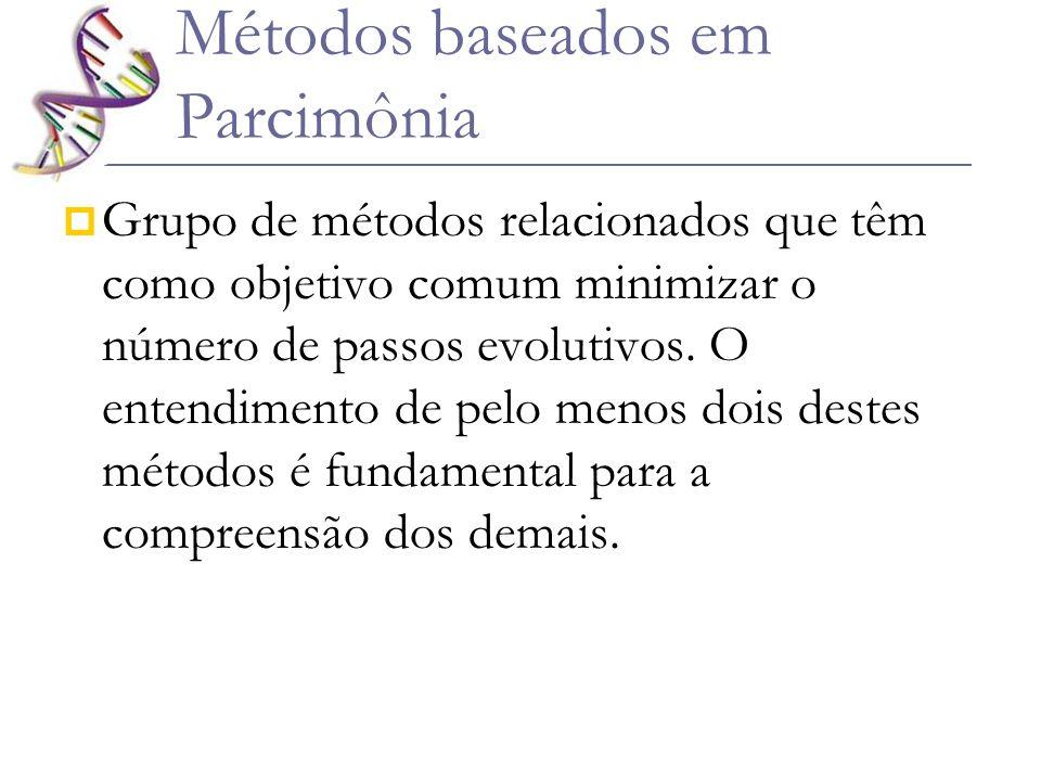 Métodos baseados em Parcimônia Grupo de métodos relacionados que têm como objetivo comum minimizar o número de passos evolutivos. O entendimento de pe