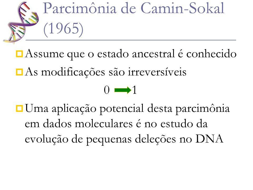 Parcimônia de Camin-Sokal (1965) Assume que o estado ancestral é conhecido As modificações são irreversíveis 0 1 Uma aplicação potencial desta parcimô