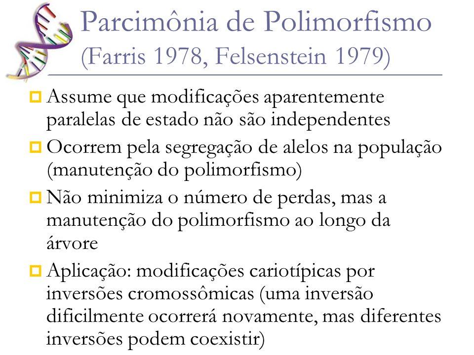 Parcimônia de Polimorfismo (Farris 1978, Felsenstein 1979) Assume que modificações aparentemente paralelas de estado não são independentes Ocorrem pel