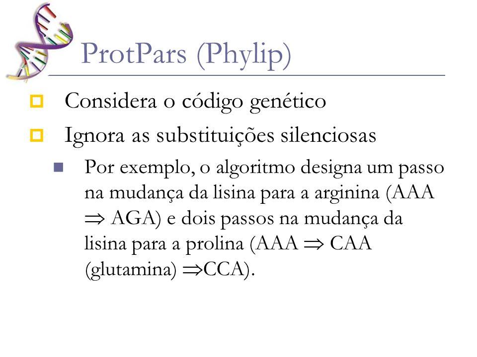 ProtPars (Phylip) Considera o código genético Ignora as substituições silenciosas Por exemplo, o algoritmo designa um passo na mudança da lisina para