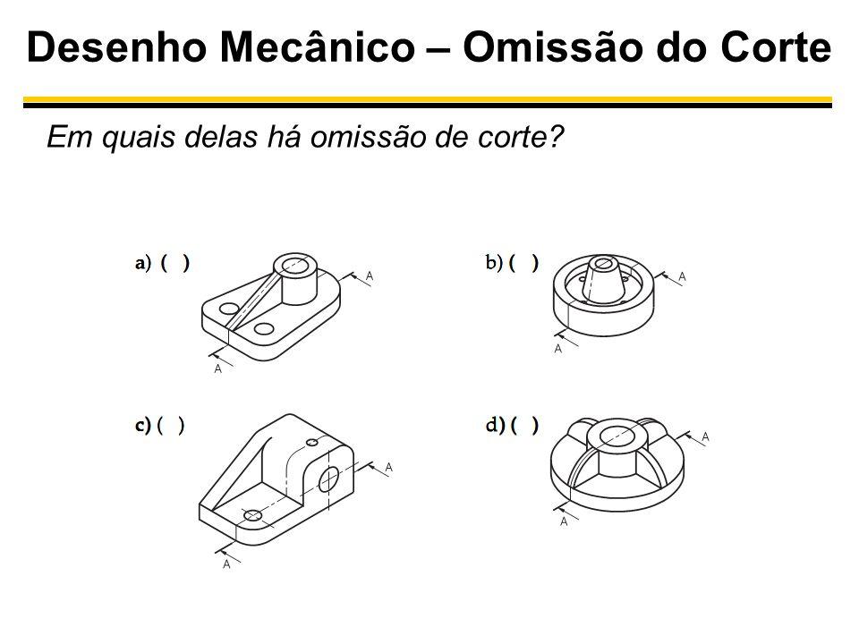 Desenho Mecânico – Omissão do Corte Em quais delas há omissão de corte?