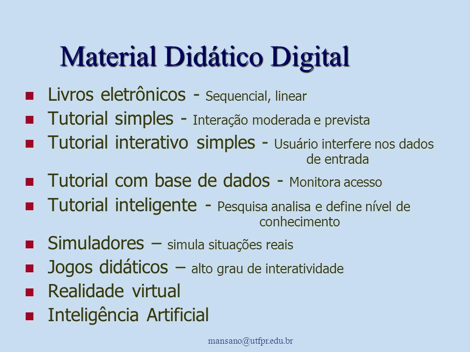 mansano@utfpr.edu.br Material Didático Digital Livros eletrônicos - Sequencial, linear Tutorial simples - Interação moderada e prevista Tutorial inter