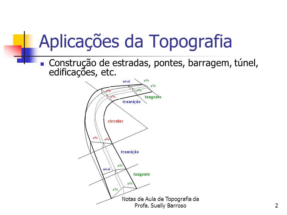 Notas de Aula de Topografia da Profa. Suelly Barroso2 Aplicações da Topografia Construção de estradas, pontes, barragem, túnel, edificações, etc. e% c
