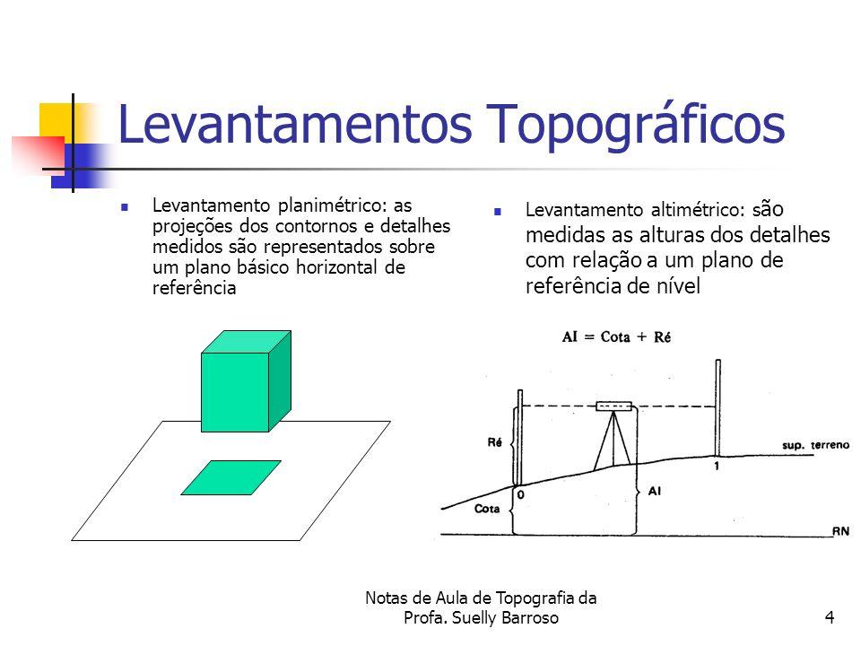 Notas de Aula de Topografia da Profa. Suelly Barroso4 Levantamentos Topográficos Levantamento planimétrico: as projeções dos contornos e detalhes medi