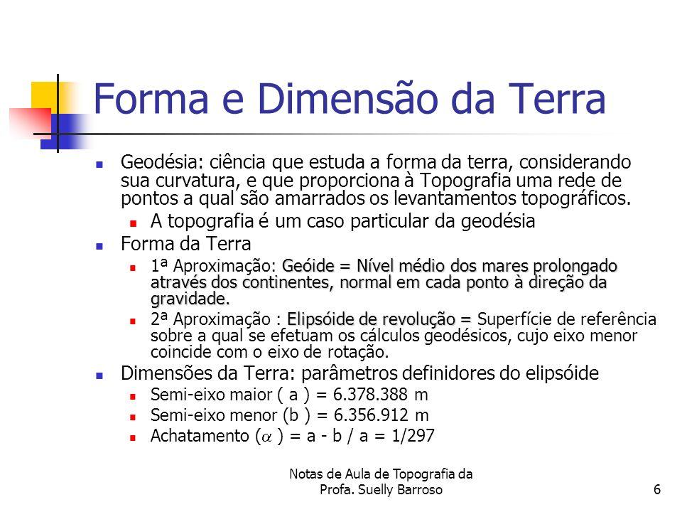 Notas de Aula de Topografia da Profa. Suelly Barroso6 Forma e Dimensão da Terra Geodésia: ciência que estuda a forma da terra, considerando sua curvat