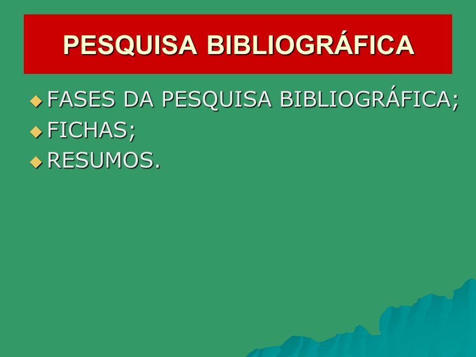 PESQUISA BIBLIOGRÁFICA FASES DA PESQUISA BIBLIOGRÁFICA; FASES DA PESQUISA BIBLIOGRÁFICA; FICHAS; FICHAS; RESUMOS. RESUMOS.