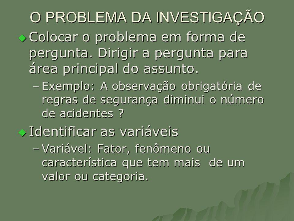 O PROBLEMA DA INVESTIGAÇÃO Colocar o problema em forma de pergunta. Dirigir a pergunta para área principal do assunto. Colocar o problema em forma de