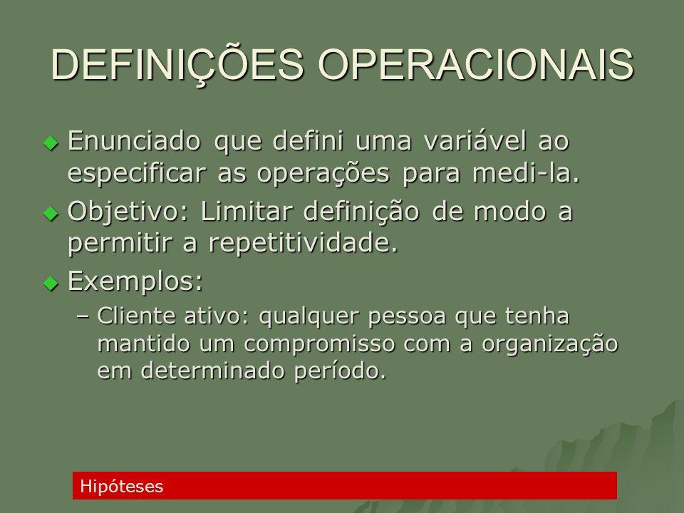 DEFINIÇÕES OPERACIONAIS Enunciado que defini uma variável ao especificar as operações para medi-la. Enunciado que defini uma variável ao especificar a
