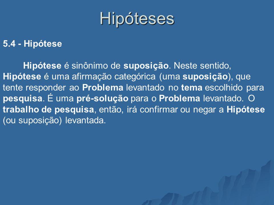 Hipóteses 5.4 - Hipótese Hipótese é sinônimo de suposição. Neste sentido, Hipótese é uma afirmação categórica (uma suposição), que tente responder ao