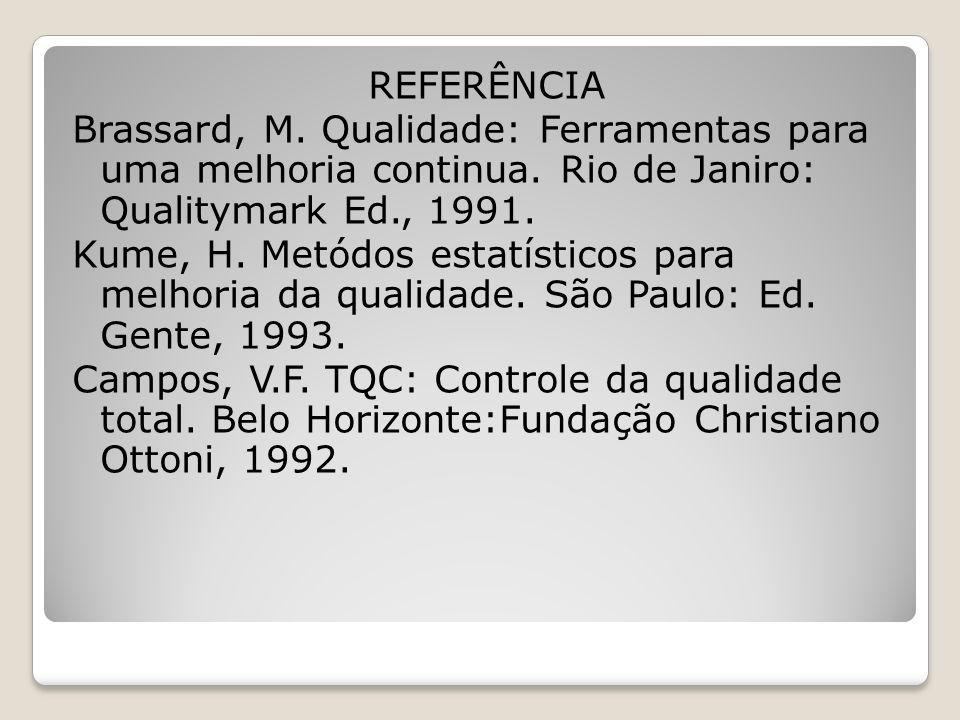 REFERÊNCIA Brassard, M. Qualidade: Ferramentas para uma melhoria continua. Rio de Janiro: Qualitymark Ed., 1991. Kume, H. Metódos estatísticos para me