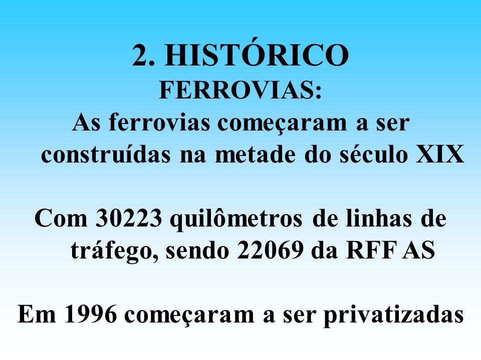 2. HISTÓRICO FERROVIAS: As ferrovias começaram a ser construídas na metade do século XIX Com 30223 quilômetros de linhas de tráfego, sendo 22069 da RF