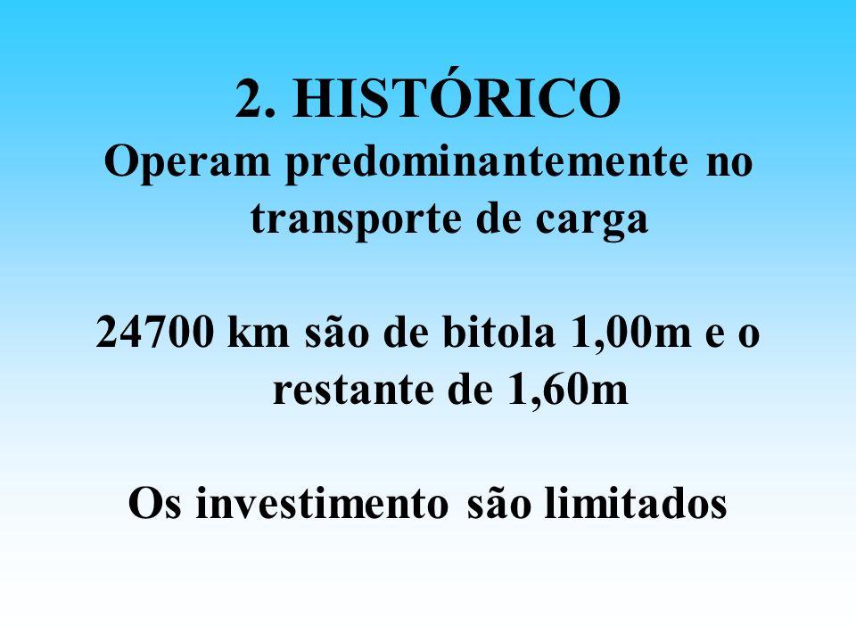 2. HISTÓRICO Operam predominantemente no transporte de carga 24700 km são de bitola 1,00m e o restante de 1,60m Os investimento são limitados